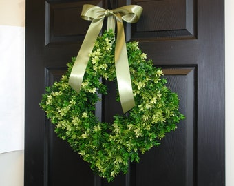 Spring wreath Easter wreaths for front door wreaths outdoor wreath square boxwood wreath decorations rustic wedding
