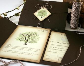 LIterary Wedding Invitation, Pocketfold Tag & Twine Wedding Invitation, Book Lover