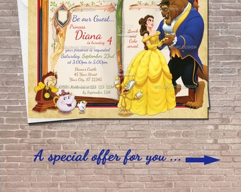 Beauty and the Beast Invitation / Instant Download & Editable / Belle Invite / Princess Birthday Invitation / PRINTABLE