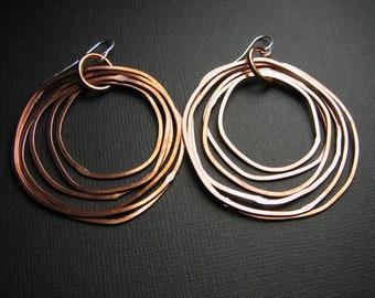 Copper Hoop earrings - Copper Earrings - Shiny finish - Layered rings - light weight - handmade in Austin, Tx