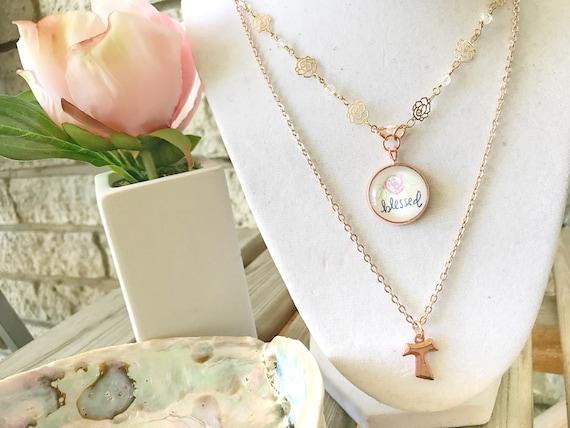 Catholic Pendant Necklace * Catholic Jewelry * Christian Jewelry * Tau Cross Pendant Necklace * Multi-Strand Necklace