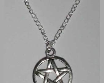 Pentacle necklace etsy simple small pentagram necklace small pentacle necklace silver pentagram necklace wicca jewelry aloadofball Images