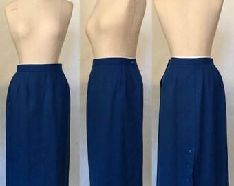 Vintage 80s Breckenridge Royal Blue Wool Straight Skirt / Mid-Length Midi / Women's Size 12/ Medium to Large
