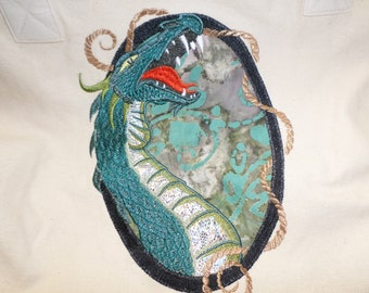 tote, dragon, embroidered