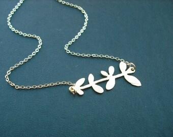 matte finish nine leaf branch necklace - matte 16K yellow gold plated