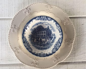 Vintage Heritage Hall Blue cereal bowls Vintage Blue and white china, Georgian Townhouse Staffordshire England, Blue transfer ware Bowls