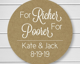 For Richer For Poorer Stickers, White Ink on Kraft Lottery Ticket Wedding Labels, Customizable Wedding Stickers (#217-1-KR-WT)