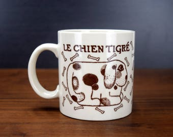 Taylor & Ng Le Chien Tigre Coffee Mug, Taylor and Ng Dog and Bones Coffee Cup, 1978 Brown