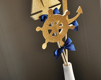 Nautical Baby Shower Decorations.  Handcrafted in 2-5 Business Days.  Nautical Centerpiece.  3CT.
