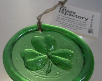 Recycled glass shamrock suncatcher, green shamrock ornament, window art