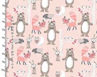 Goodnight Forest from Quilter's Palette - Full or Half Yard Bears, Foxes, Bunnies, Owls, Porcupines on Pink