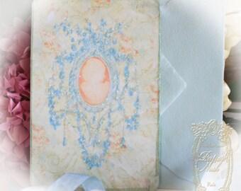 La Jolie Bleu Cameo Silhouette Set of 6 Cards and Handmade Italian Envelopes