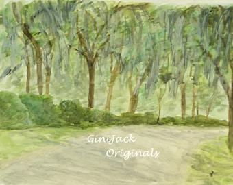 Matted Print of Original Watercolor Painting, Bonaventure Cemetery, Savannah, GA Available in 3 Sizes,