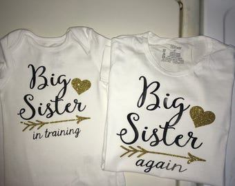 Big Sister Again or Big Sister In Training iron on decal smaller size 5 x 5 black and glitter gold