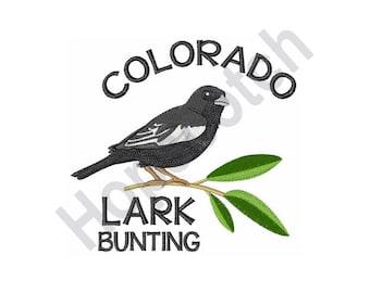 Bird - Machine Embroidery Design, Lark Bunting, Colorado