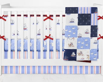 Baby Boy Crib Bedding ⎮ Out to Sea ⎮ Patchwork Blanket ⎮ Nautical ⎮ Pirates ⎮ Vintage ⎮ Anchors