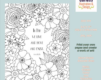Acts 17:25 Coloring Page, Bible Verse Coloring Page, Christian Coloring Page, Scripture Coloring Page, Floral Coloring Page