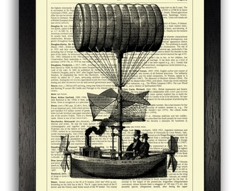 Steampunk Ship Art Print, Dictionary Print, Vintage Steampunk Dictionary Art Print, Steampunk Gift for Boyfriend, Bedroom Steampunk Decor