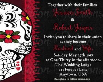 Sugar Skull Day of the Dead Wedding Invitation set/ Gothic Themed wedding invitation/ Save the date
