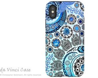 Blue Paisley iPhone X Tough Case - Dual Layer Protection - Blue Mehndi - Boho Paisley iPhone 10 Case by Da Vinci Case