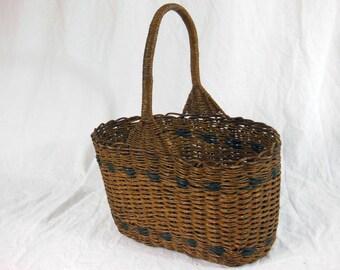 Wicker Basket Hand Made,  Varnished Wicker, Hand Basket, Vintage