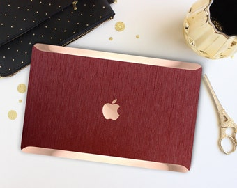 Macbook Pro 13 Case Macbook Air Case Laptop Case Macbook Case . Brushed Red Alluminum with Rose Gold Chrome . Hard Case - Platinum Edition