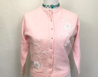 Vintage 1950s Beaded Cardigan Sweater // Pink Lambswool/Angora with White Beading // Button Up Long Sleeve // Vintage Size 40 - XS/S