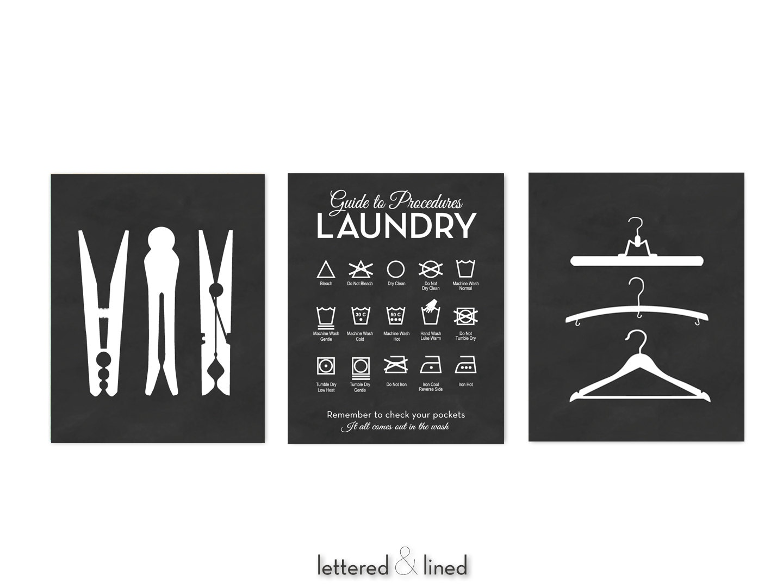 Laundry symbols hanger clothespin 3 print set choose zoom buycottarizona Image collections