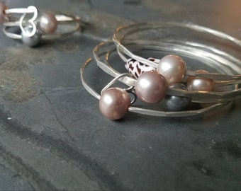 One edison Pearl Bangle Bracelet Gold filled Rose Gold filled Sterling Silver Handmade Hammered scalloped faceted pink pearl