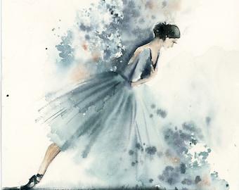Ballerina ORIGINAL watercolor painting, abstract realism ballet painting, Modern Painting of Ballerina in blue