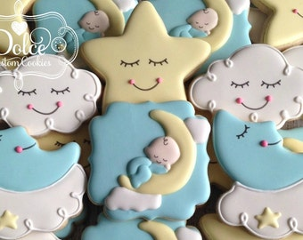 To The Moon and Back Twinkle Twinkle Little Star Baby Shower Cookies
