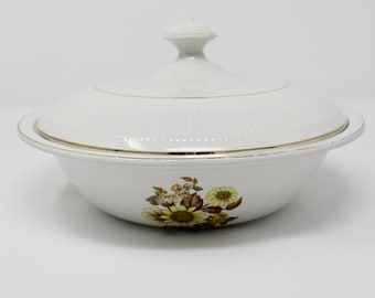 Royal Warwick Sunflower Pattern Round Covered Vegetable with Lid