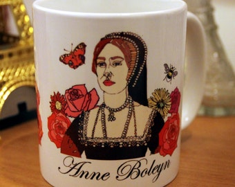 Anne Boleyn mug, Henry VIII's second wife, Tudor, Queen, Queen of England, Countryside, Flowers, roses, daisies, butterflies, bees, Necklace