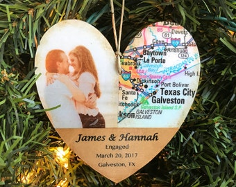 Personalized Engagement Ornament, Newly Engaged Ornament, Engagement Gift For Couple, Wedding Shower Gift, Photo Ornament, Map Ornament