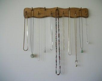 Necklace Jewelry Rack Organizer Wooden with Finish and Wavy Sides