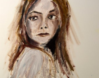 Close up of girl art, girl art, girl painting, girl oil painting, girl portrait, Woman oil painting, Print Painting Wall Art