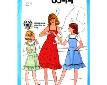 Girls Dress Pattern Simplicity 8544 Ruffle Hem Sundress or Jumper Shoulder Straps Girls Size 12 Vintage Sewing Pattern