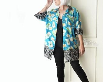 Oversize Hawaiian top, Kimono, travel print, FREE SHIPPING, artsy, beach, aqua, black, turquoise, boho, eco fashion, Plus size, upcycled
