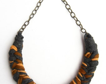 Colorful Cotton Necklace, Braided Necklace, Camel Necklace, Mustard and Gray Necklace, Cotton Jewelry, Woven Necklace, Fishtail Necklace.