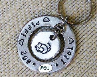 Pet Tag - Cat Tag - Pet ID Tag - Collar Tag - Personalized Pet - Pet Accessories - Aluminum - Hand Stamped - Mouse