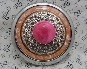 Compact mirror - Gumball - gift for bridesmaids - compact mirror with protective pouch - round handbag mirror - unique orange compact mirror