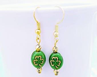 Shamrock Earrings, Irish Earrings,St. Patricks Day earrings, Ireland Jewelry, Trinity, Ireland vacation,Irish Jewelry