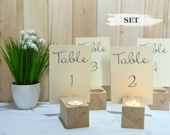Wedding table number holders Wooden candle holder Wedding name cardholder Rustic wedding centerpieces Wood menu holders Table number stands