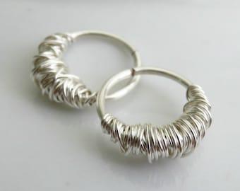Cartilage hoop earrings - small hoop earrings - white gold hoop earrings