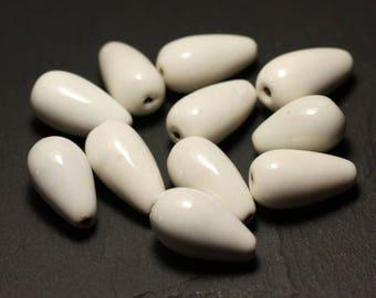 50pc - ceramic porcelain beads 21mm white drops