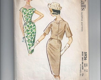 McCall's 5926 Pattern for Misses' Sheath Dress & Jacket, Size 14, From 1961, Classic 1960s, 3 Gore Slim Skirt, Boxy Jacket, Mid Century
