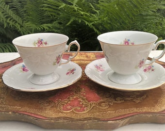 Set of two wamel teacups and saucers, Porcelain, Made in Poland