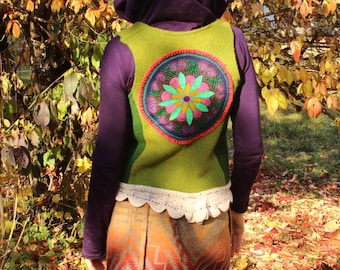 Fairy heart chakra vest /boiled wool /shipibo textile /embroidered trim /Celtic concho buttons/ sz small or made to order/one of a kind