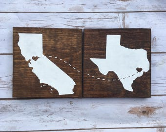 Connecting State Signs Unique Wedding gift wooden sign Housewarming Gift - Moving Gift - New York, California, Texas, Florida Rustic Decor