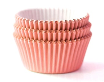 Solid Peach Cupcake Liners